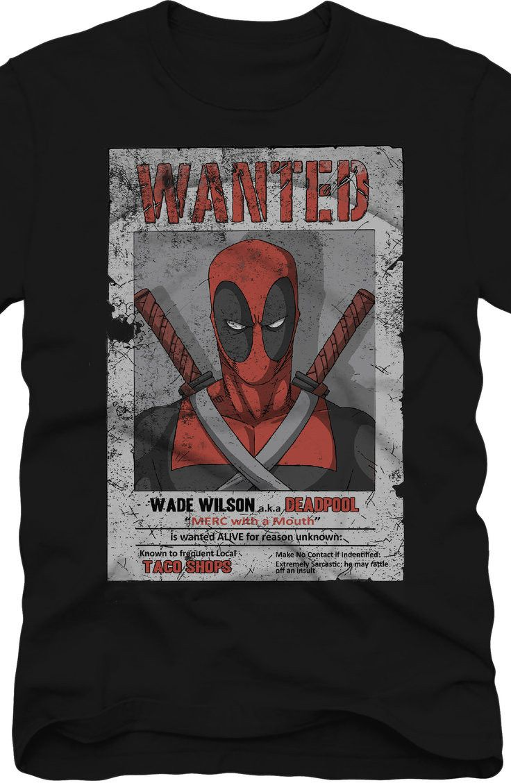 f0229618e Wanted Deadpool T-Shirt: Marvel Comics Deadpool Mens T-Shirt | New ...