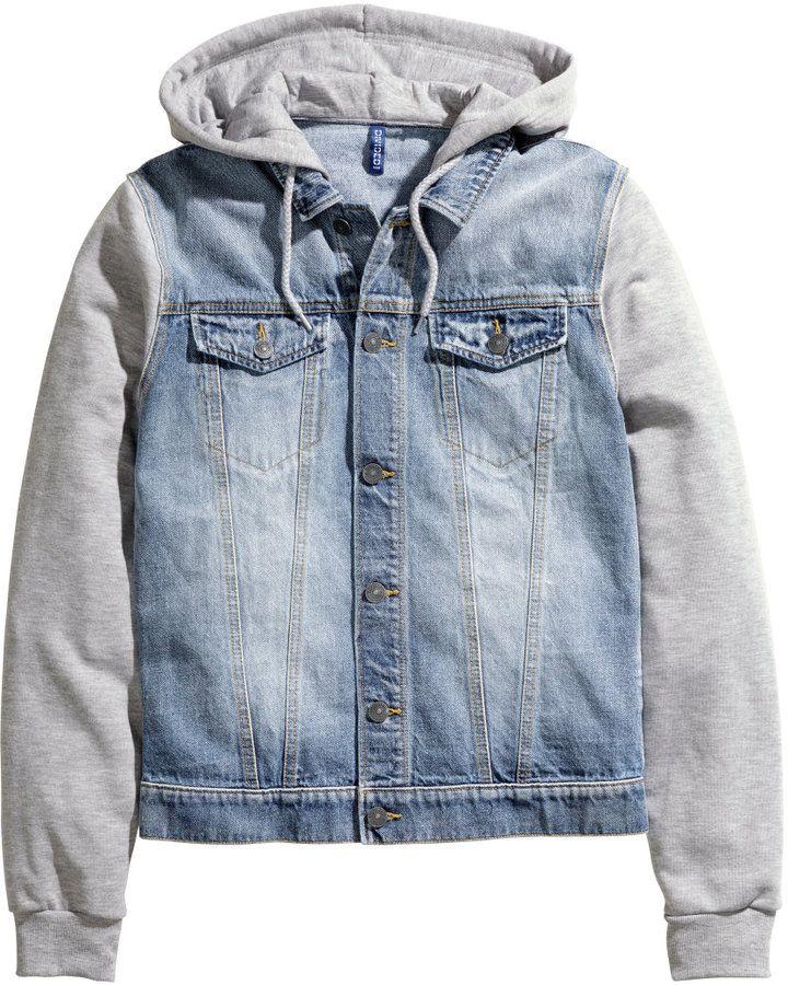 6a4a65f8e52a H M - Hooded Denim Jacket - Denim blue - Men