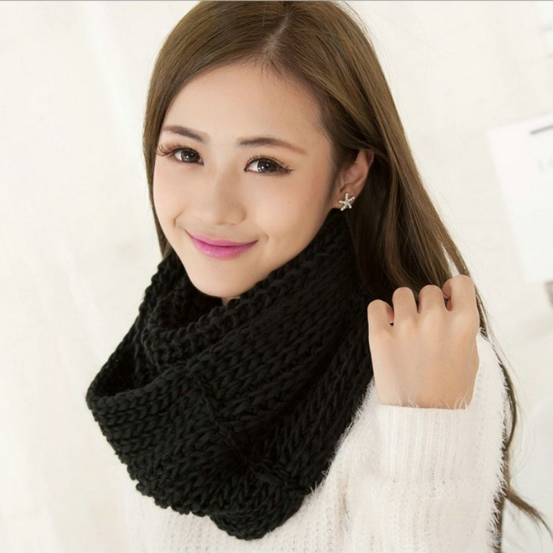 Unisex Winter Scarves Fleece Knitted Scarf Solid Color Neck Warm Scarves Shawl Cowl