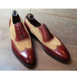 Handmade Men Two Tone Leather Formal Shoes, Beige And Brown Dress Shoes,  Handmade Men Two Tone Leather Formal Shoes, Beige And Brown Dress Shoes,