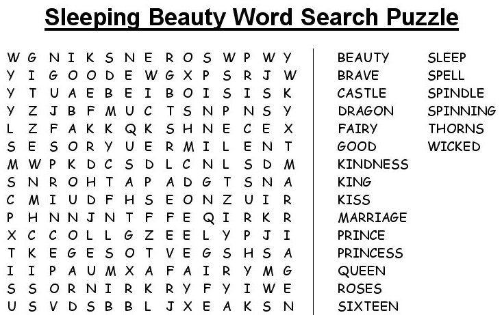 Sleeping Beauty word search puzzle | Novel Study Puzzles | Pinterest