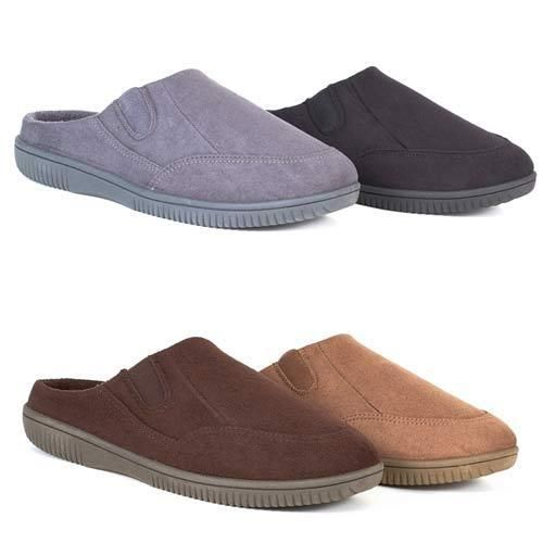 MENS SLIPPERS WINTER WARM COMFORT TWIN GUSSETS LUXURY SLIP ON MULES SHOES SIZE