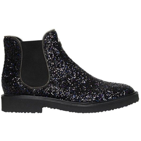 Giuseppe Zanotti GLITTERED CHELSEA BOOTS WITH ZIPPER TRIM