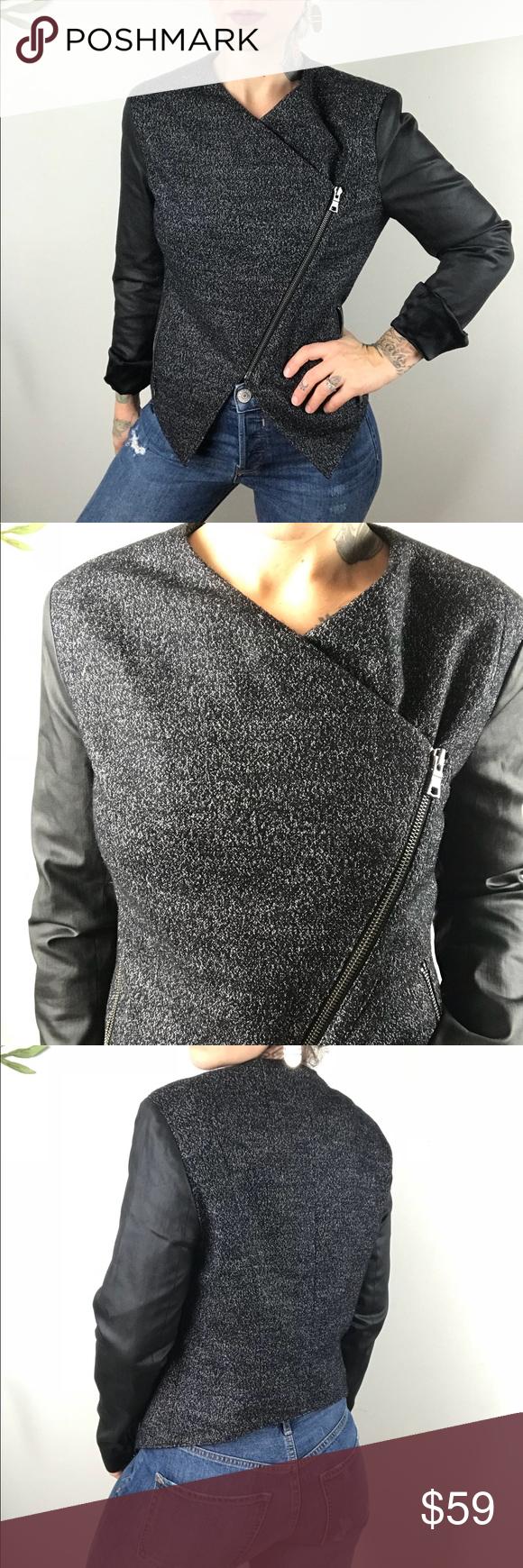 BANANA REPUBLIC Tweed Moto Zip Jacket Zip jackets