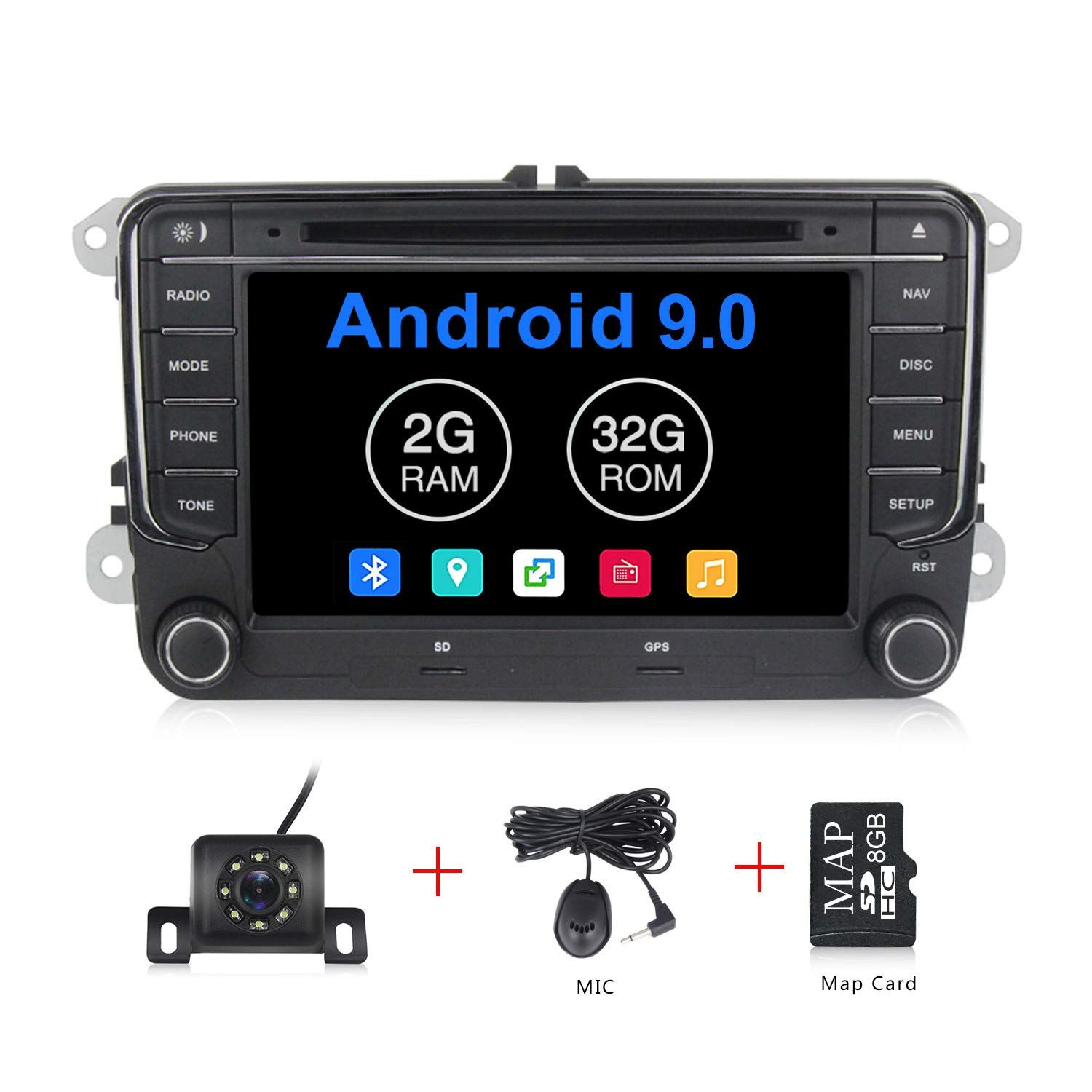 Android 9 0 Os 7 Inch Touch Screen Car Radio Systems Dvd For Vw