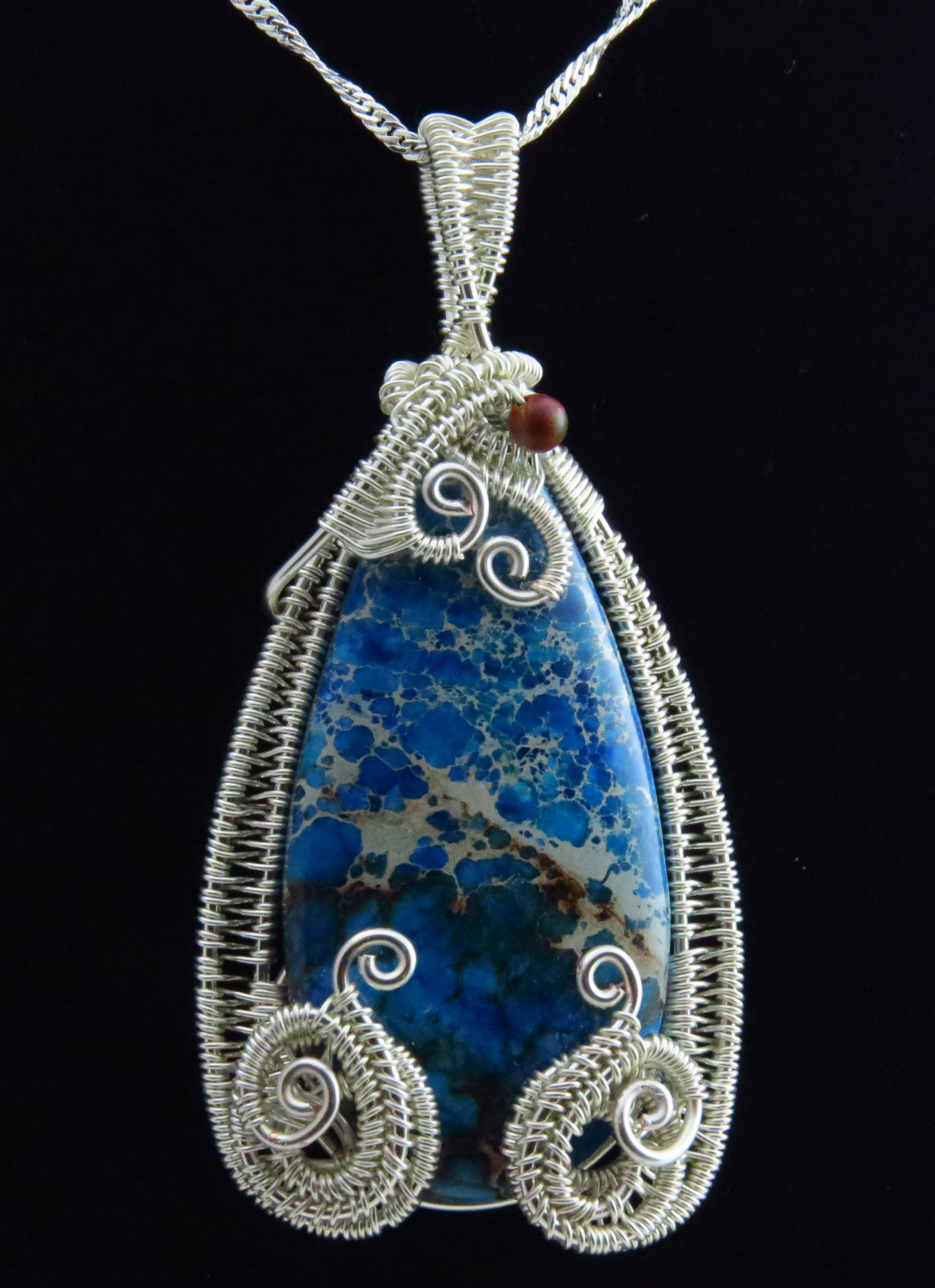 Imperial Jasper cabochon wrapped in Silver with Picasso Jasper accent bead. by Arte Laboratae - Katalin KB Walcott