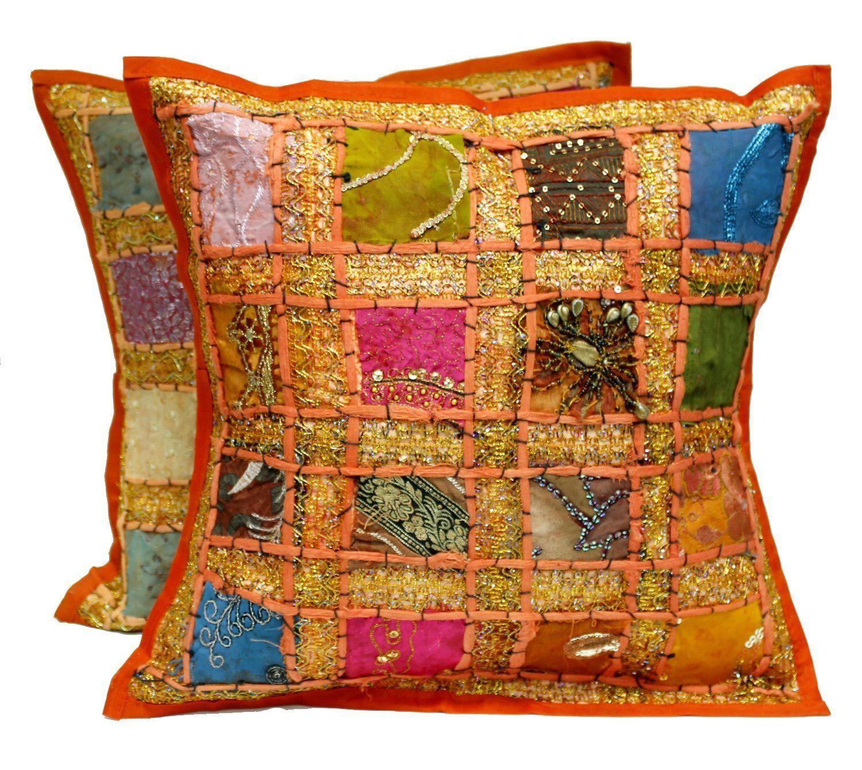 India Artisan Patchwork Sari Embellished Pillow Case Set Pillow