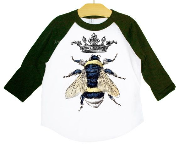 Queen Bee Shirt, Vintage Crown and Bumble Bee Graphic on Raglan Shirt.   Our images are fused and bonded to the fabric with a professional heat transfer process, which preserves perfect vibrant image detail. The image itself (as well as the shirt) has exceptional durability! Made in the US. All images digitally restored by yours truly. INDUSTRIAL-quality bonding of image that will not fade and will outlast the high-quality garment!