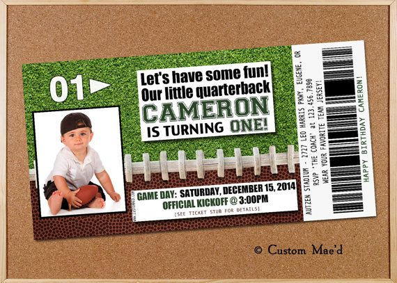 FOOTBALL TICKET Birthday Invitation Should Use This When Logan Has A Seahawks Themed