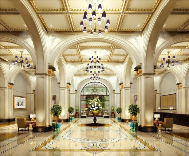 Interior Traditional Luxury Hotel Lobby Off White Walls