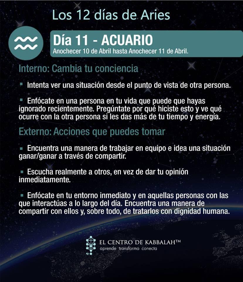 Los 12 días de #Aries :: Día 11 #ACUARIO :: #Kabbalah