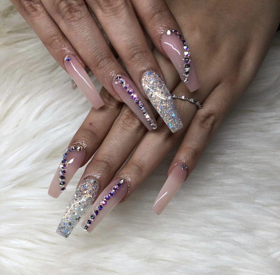 Pin By Nichole M On G R A B B E R Pink Glitter Nails Pretty Acrylic Nails Long Acrylic Nails