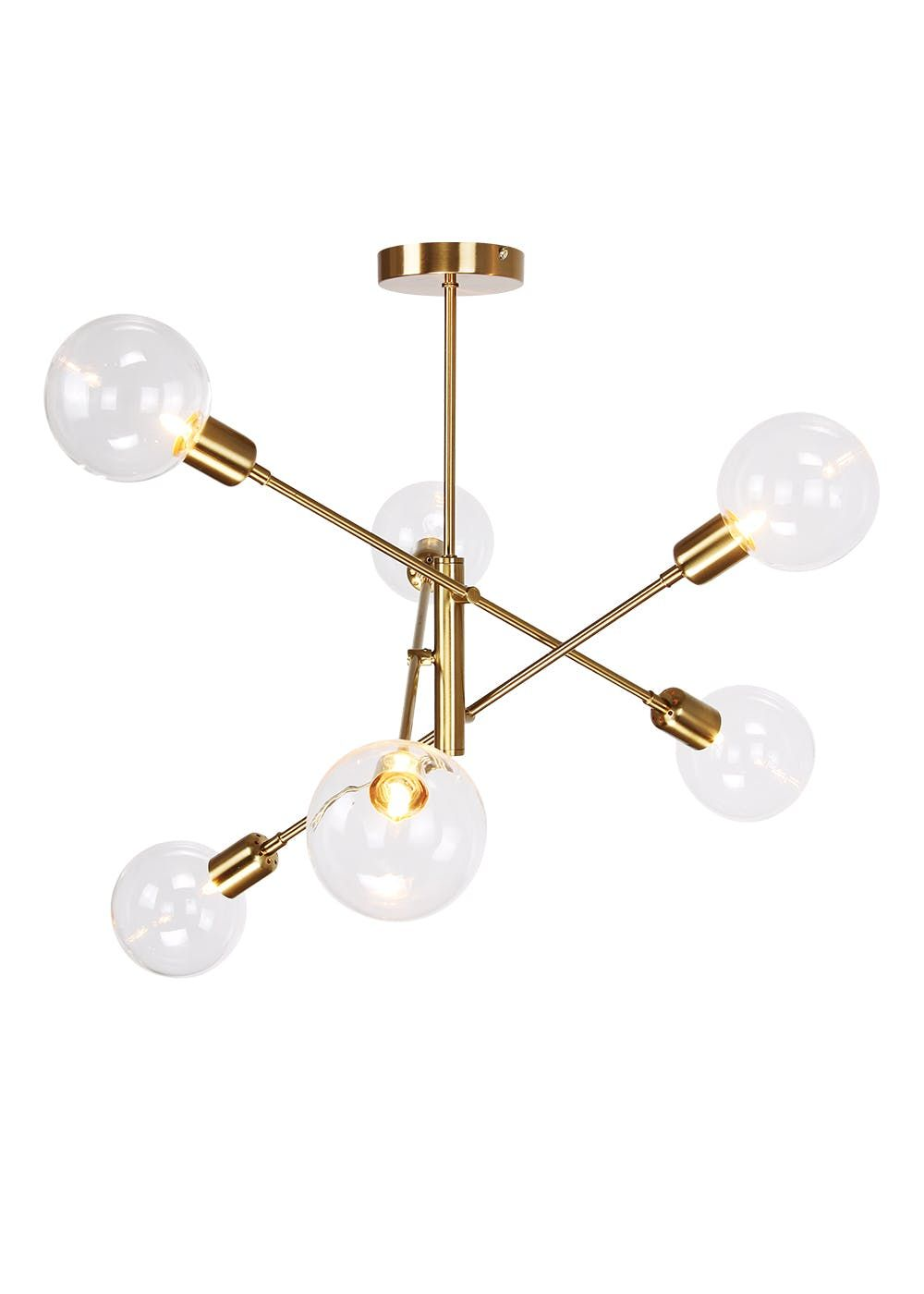 Nova Glass Semi Flush Light W68cm X H64cm Gold Bedroom Ceiling Light Gold Ceiling Light Semi Flush Lighting