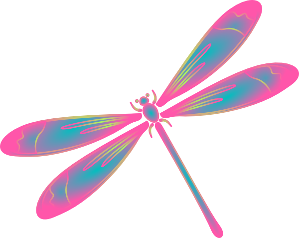 Dragonfly Clip Art | Dragonfly In Flight Blue Green Pink ...