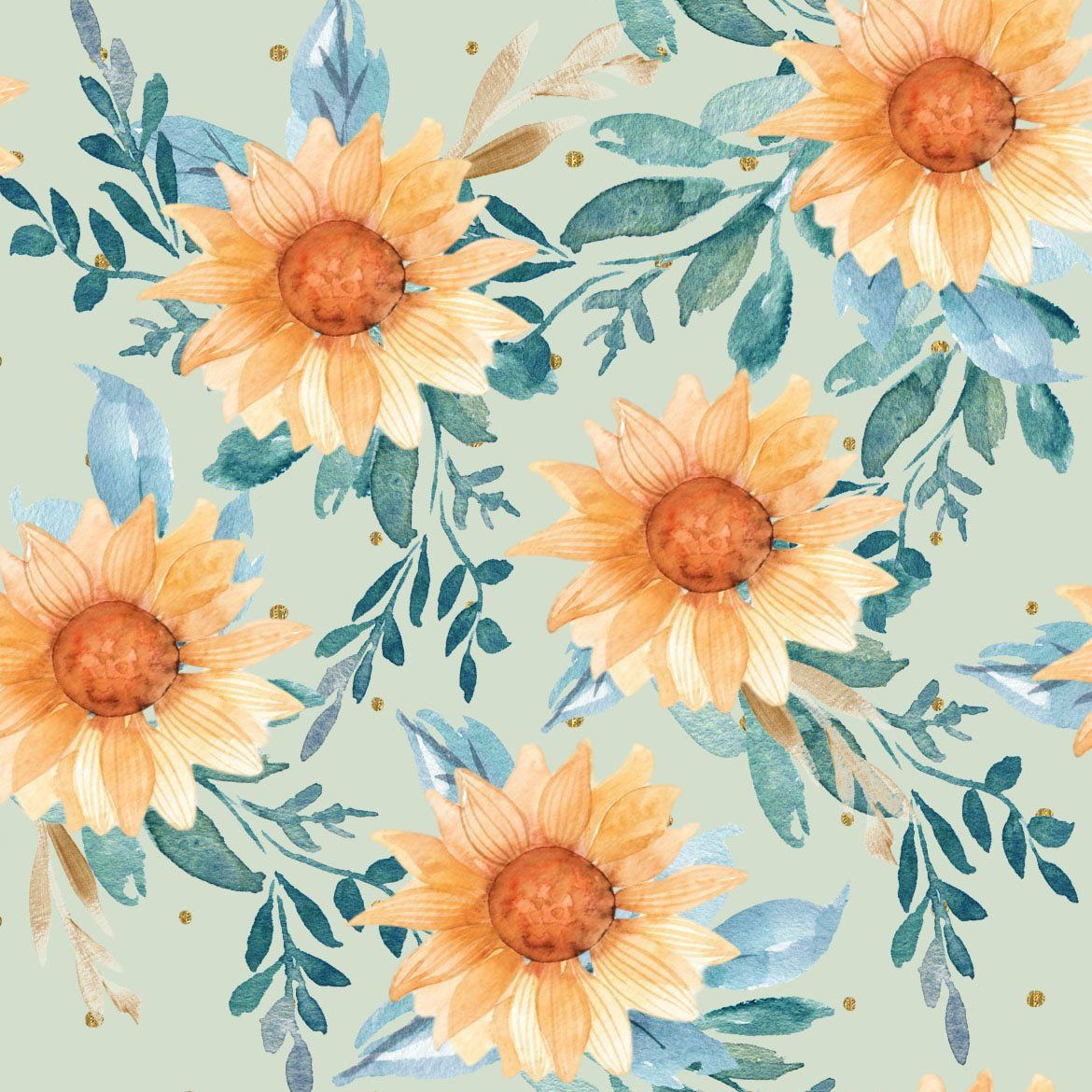 Harvest Sunflowers Fabric By The Yard Watercolor Summer Florals