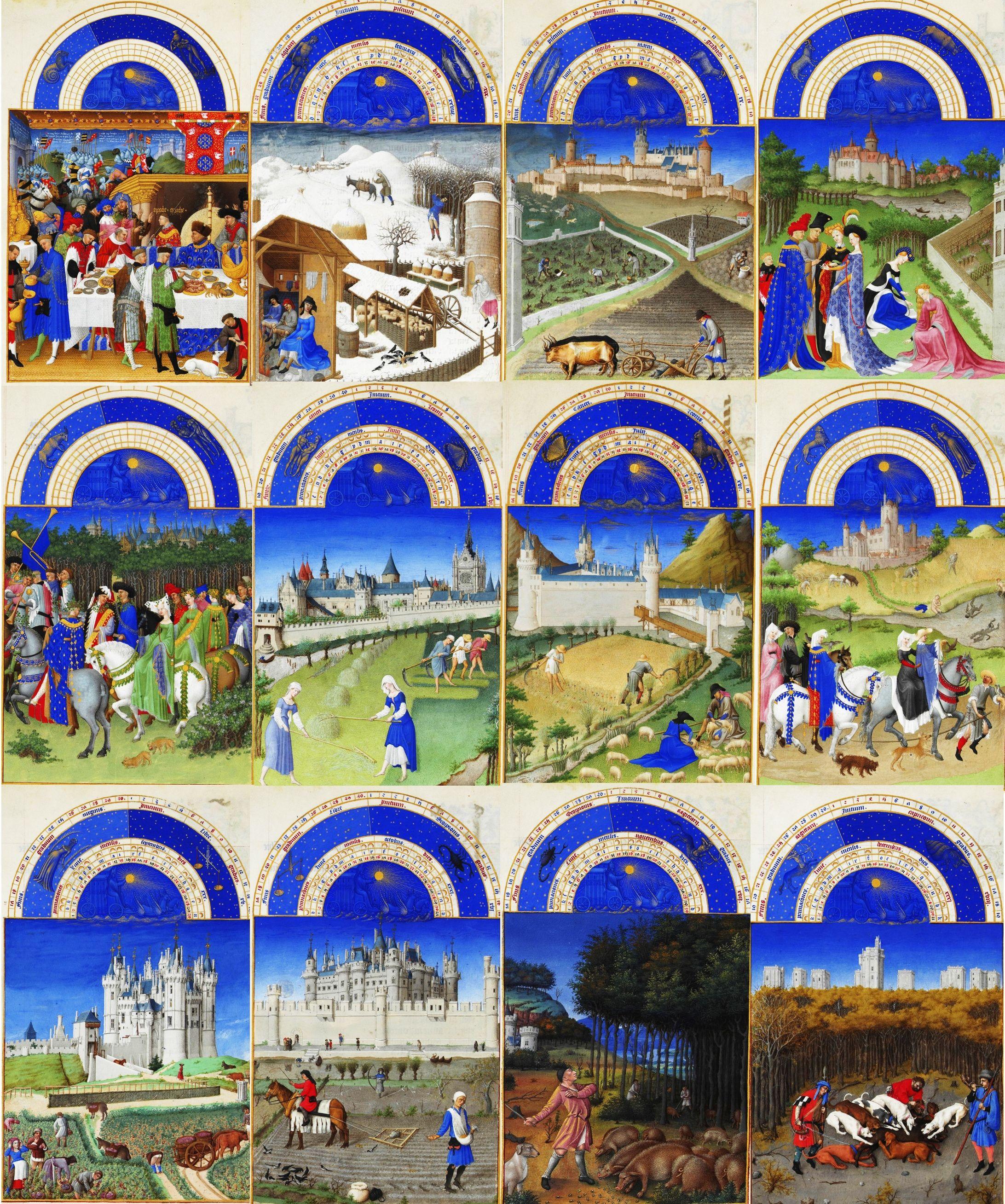 calendrier dans les tr s riches heures du duc de berry 1411 1416 par les fr res de limbourg. Black Bedroom Furniture Sets. Home Design Ideas