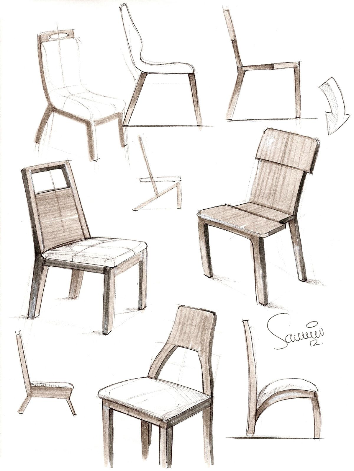 Furniture sketches on behance chair design pinterest for Industrial design chair