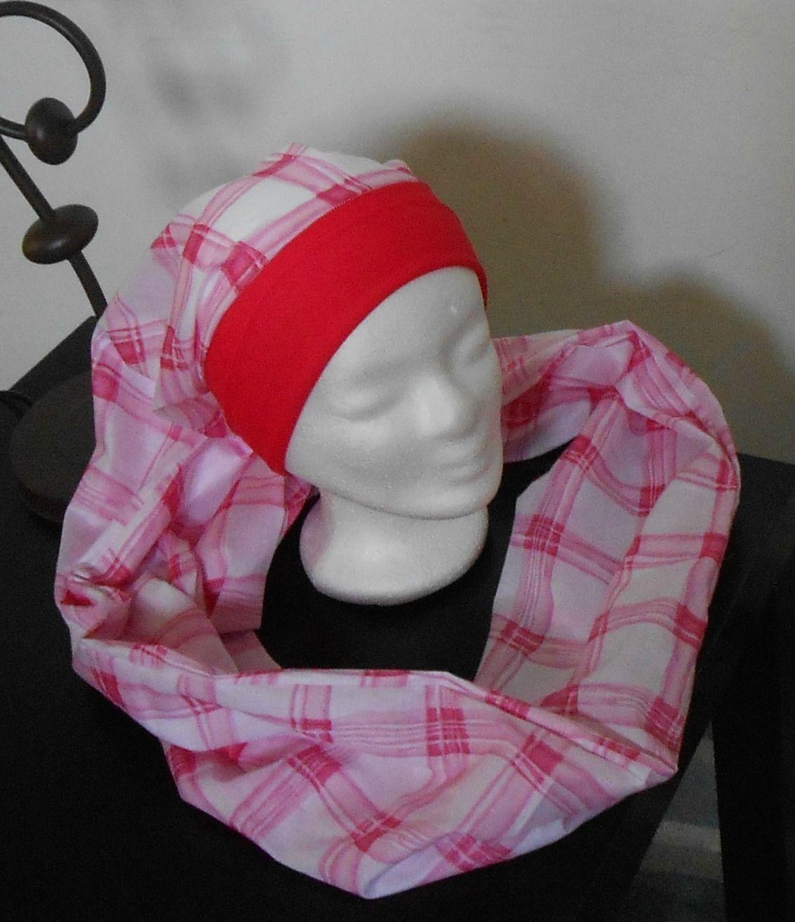 Turban Sésame à nouer, enrouler- Foulard - Bonnet - chapeau - bandeau chimio  blanc quadrillé de rose à long pan enlacé   Chapeau, bonnet par msg-secret 6d820d11a3c