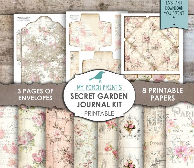A complete digital kit of paper Secret Garden Printable Journal Kit Huge Bundle journal pages and embellishments Art Journal Collection