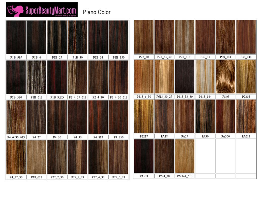 Color chart for wigs - Milky Way Pure Hair Colors