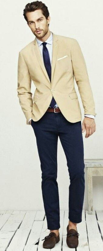 Khaki coat with navy chinos | # MENSWEAR FOR YOU | Pinterest ...