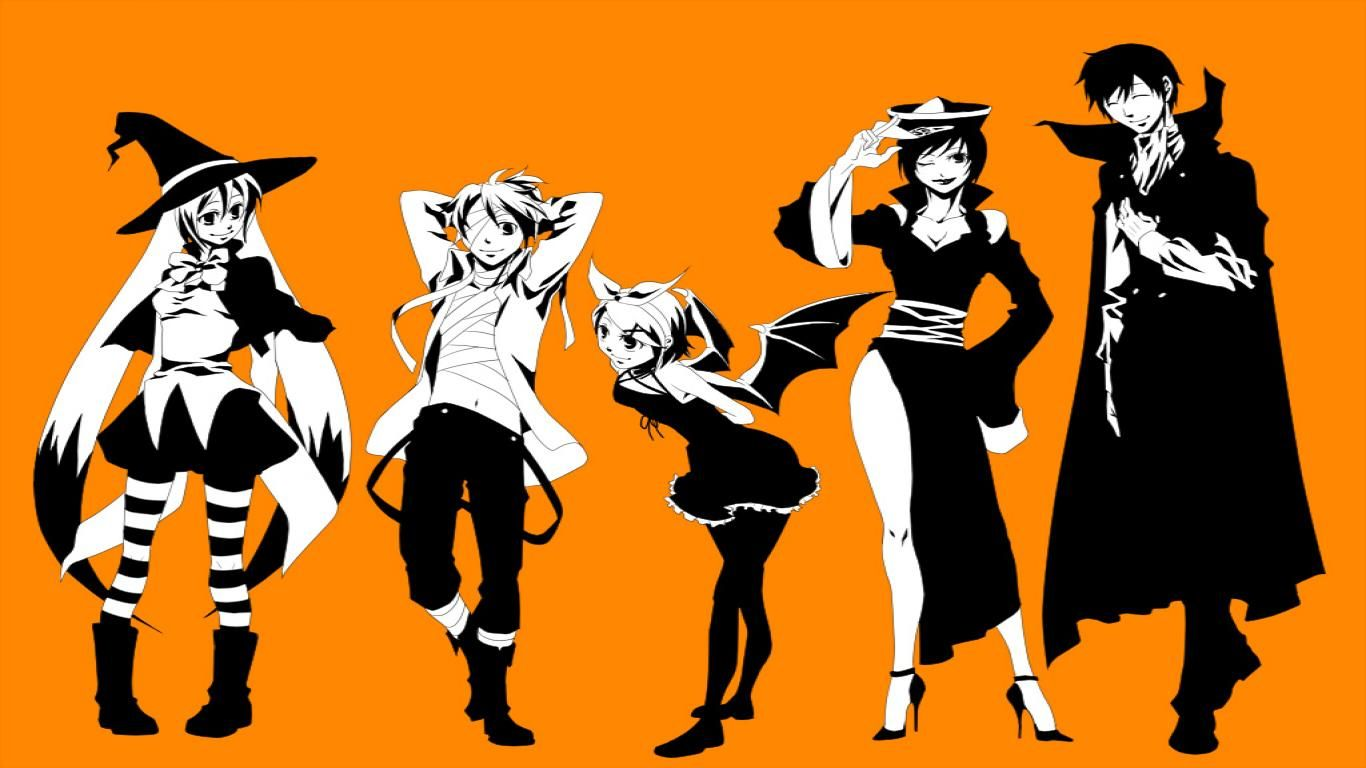 Anime Characters For Halloween : Anime characters in costumes flat halloween wallpapers