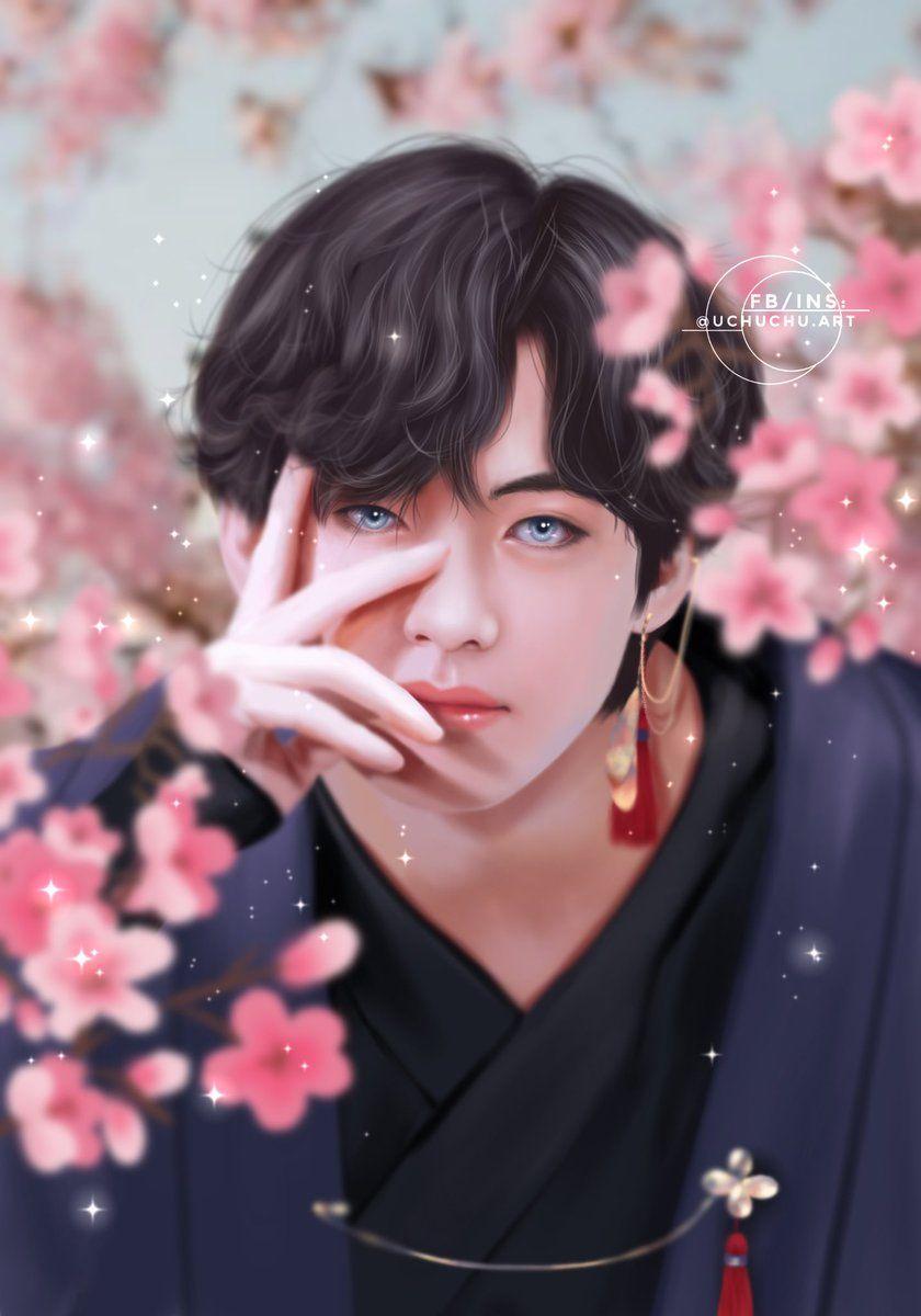 Uchuchu Art On Twitter Bts Girl Taehyung Fanart Fan Art