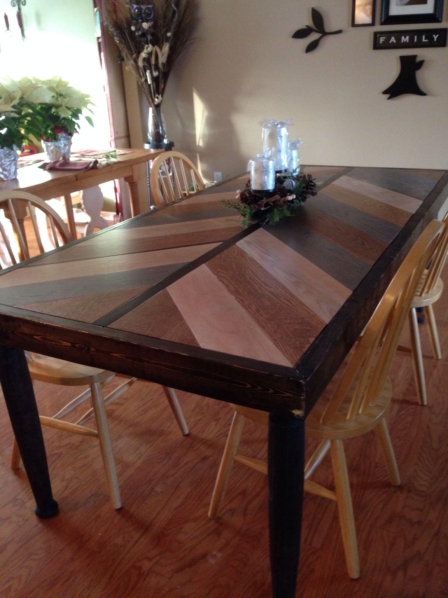 My chevron table. 7ft x 40in