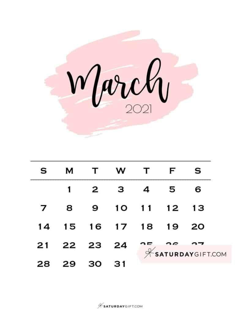 Cute March 2022 Calendar.Cute Free Printable March 2022 Calendar Saturdaygift In 2021 2021 Calendar Calendar March Pink Calendar