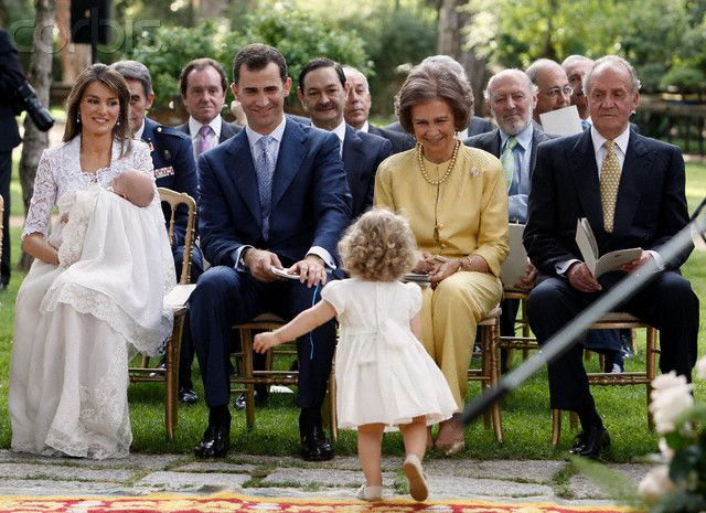 Infanta Leonor stealing the show at little sister Sofia's baptism.