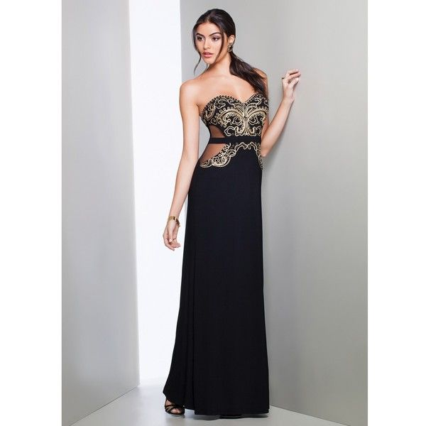 Mignon Zz101b Black Gold Strapless Cutout Dress 2016 Prom Dresses Liked On Polyvore Featuring