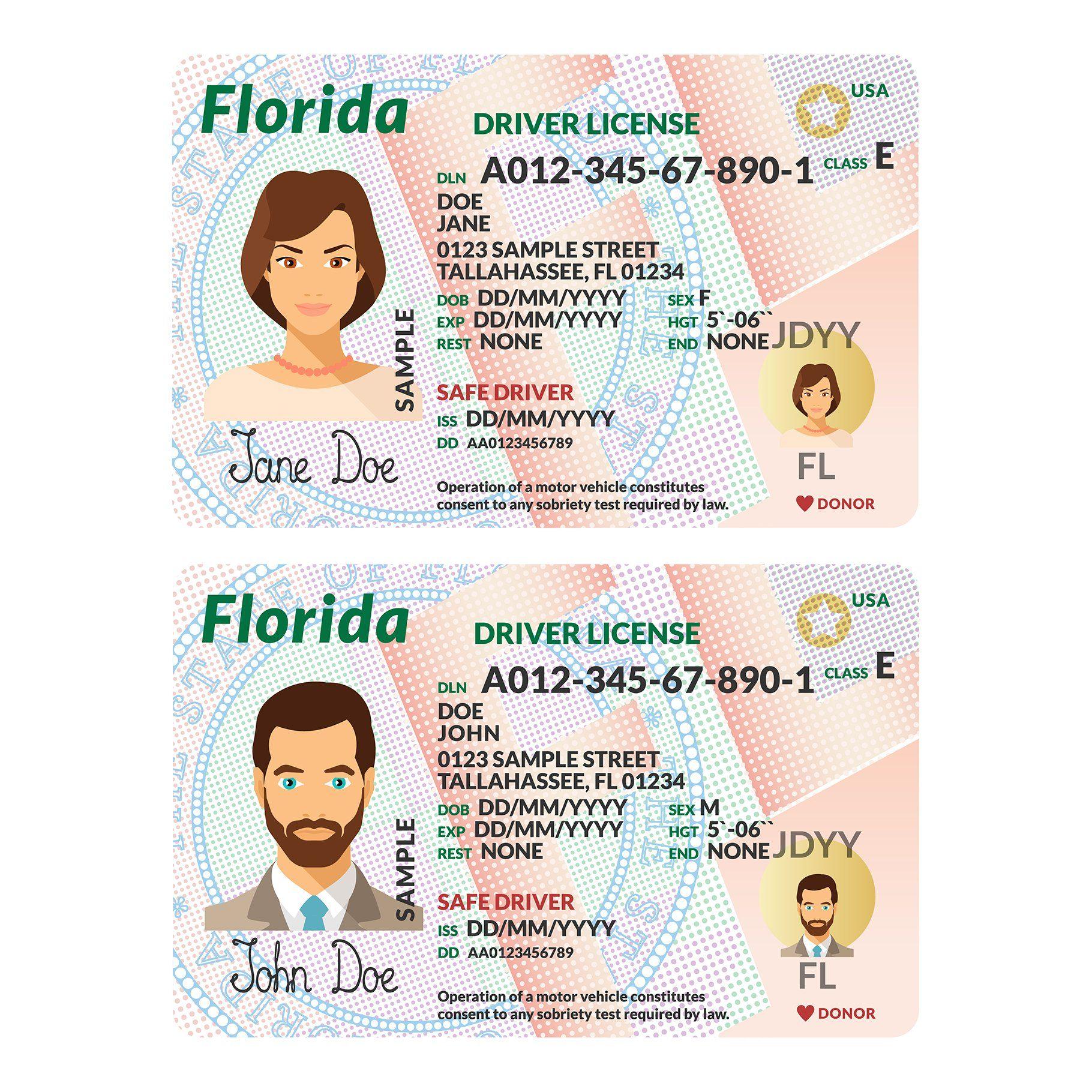 Template Of Driver Card Florida Affiliate Card Plastic Usa
