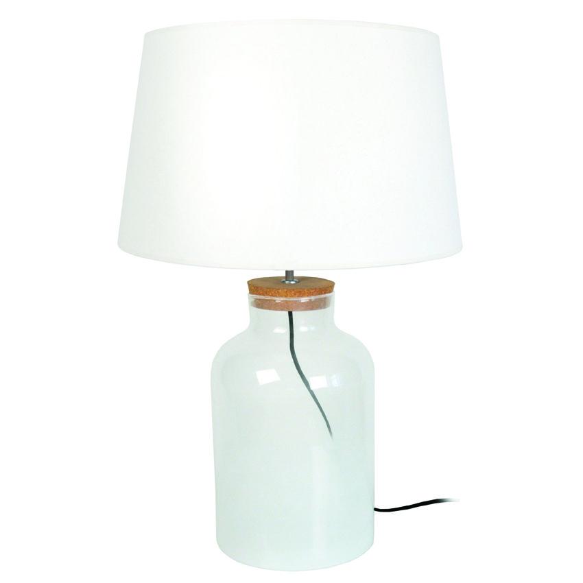 Lumiere Luminaire Eclairage Lampe Pied Transparent En Verre Et Abat