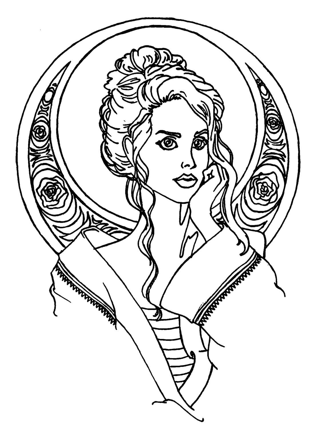 Sirens of Song Adult Coloring Book Pages (Digital Download 2 pages) Lana del Rey and Melanie Martinez by SweetLikeAntiFreeze on Etsy