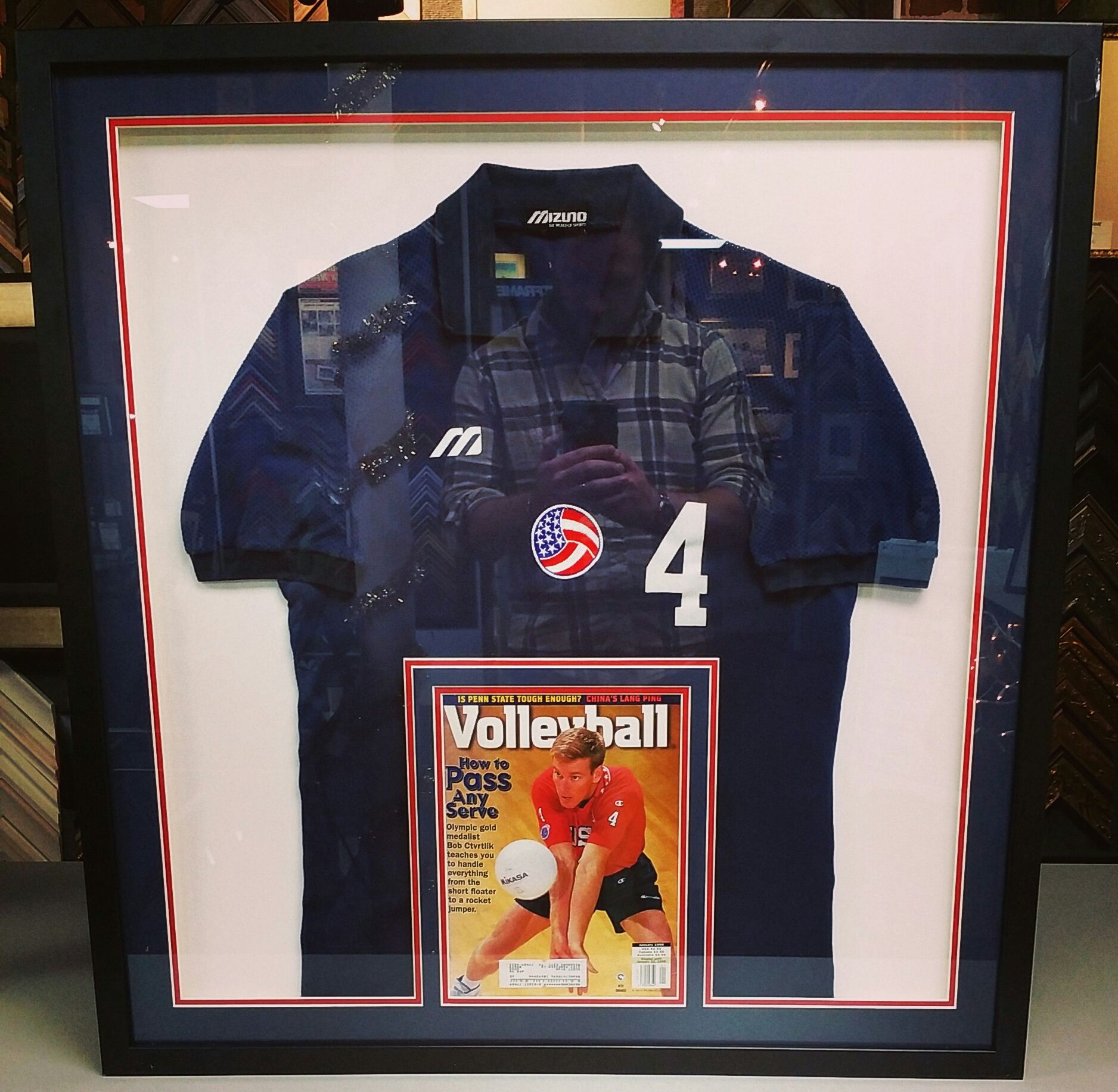 Volleyball polo shirt with magazine in a custom shadowbox! Custom framed by  FastFrame of LoDo.  pictureframing  customframing  shadowbox  denver   colorado c782825e5