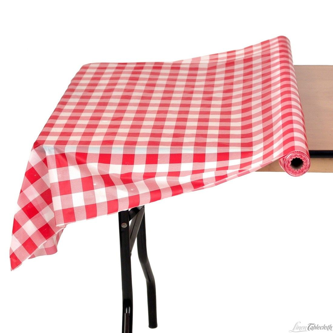 4 X 100 Ft Roll Disposable Plastic Table Cover Red White Checker