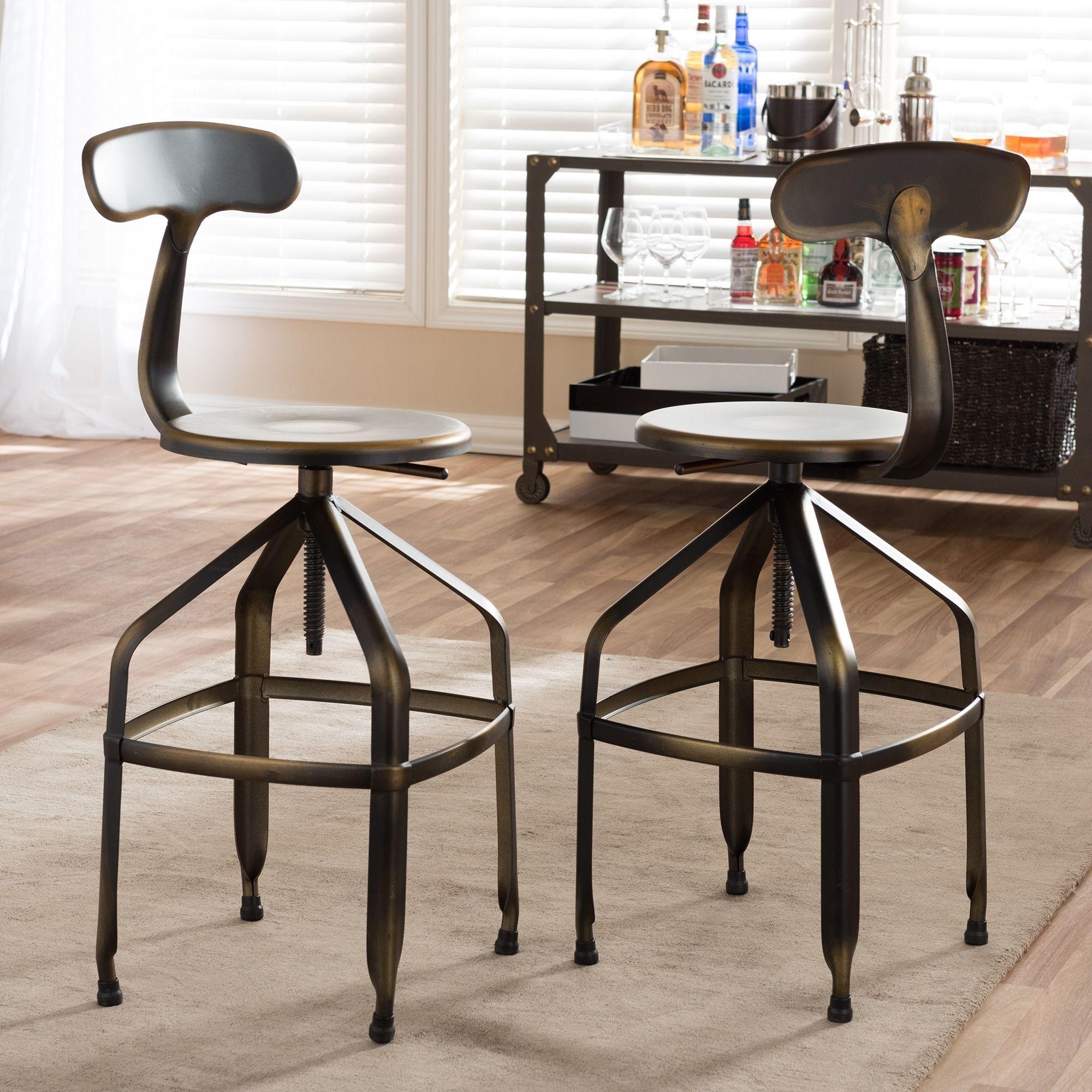 Strange Baxton Studio Architects Industrial Bar Stool In Antiqued Uwap Interior Chair Design Uwaporg