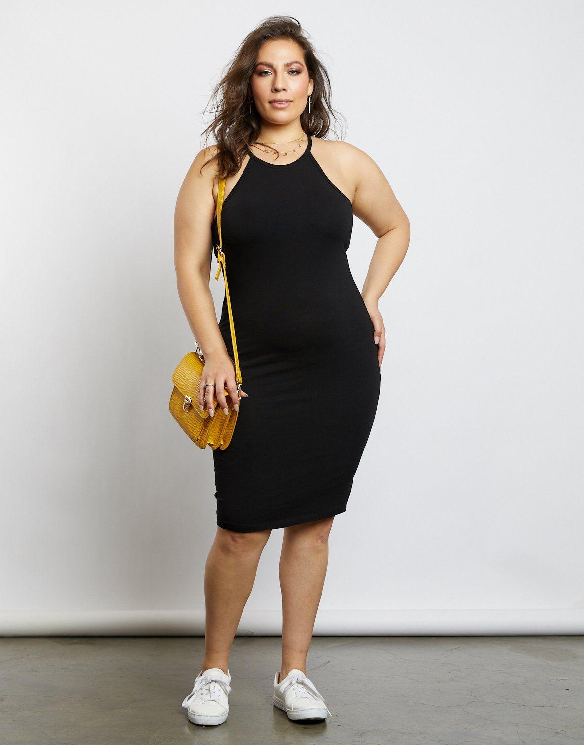 Curve Alexa Halter Racerback Dress Plus Size Outfits Fashion Plus Size Summer Dresses [ 1505 x 1180 Pixel ]