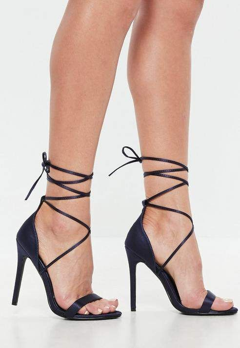 7778c116d Missguided Navy Satin Lace Up Barely There Heels New Shoes, Shoes Heels, Stiletto  Heels