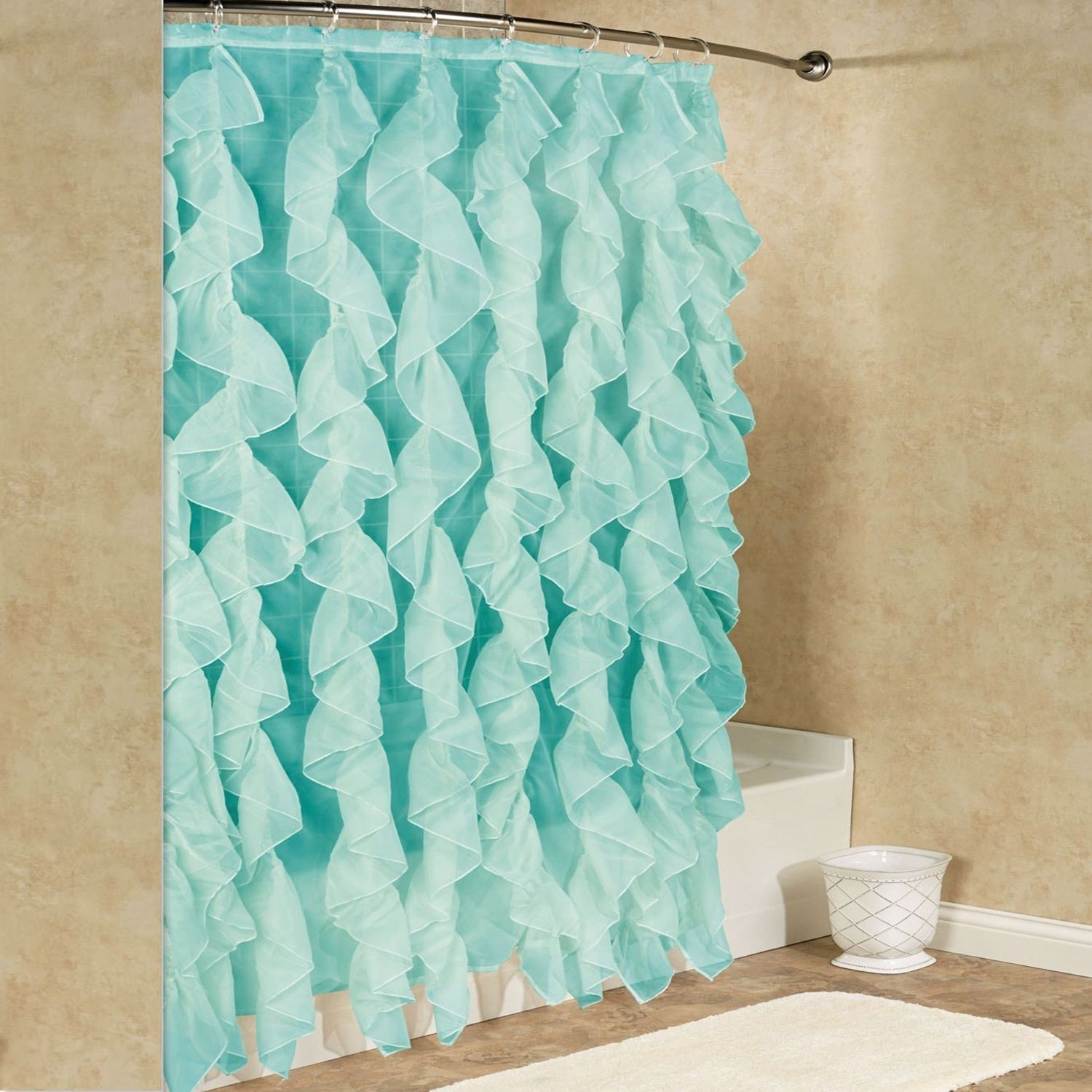 Chic sheer voile vertical waterfall blue ruffled shower curtain