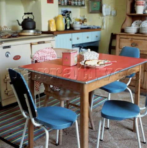 emma bridgewater - 1960s red formica kitchen table and blue chairs