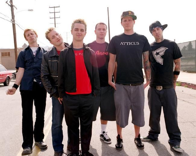 Green Day: Billie Joe Armstrong, Mike Dirnt, and Tre Cool, With Blink 182: Mark Hoppus, Tom DeLonge, and Travis Barker