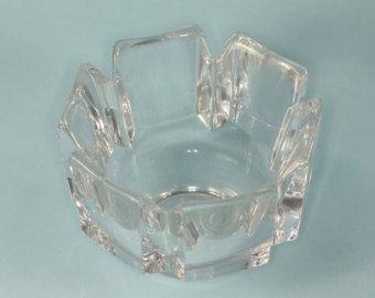 Orrefors Lead Crystal Bowl Corona Design Vintage