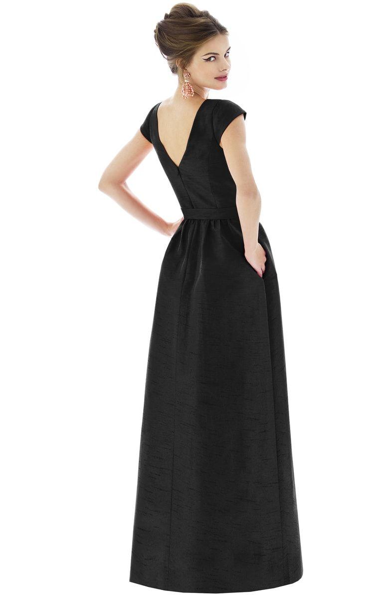 Cap sleeve dupioni full length dress alternate color black