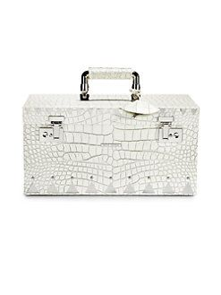 Eddie Borgo CrocodileEmbossed Leather Jewelry BoxSilvertone MY