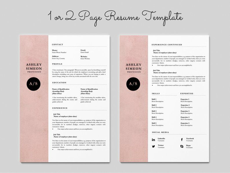 Resume Template Word Teacher Resume Cv Template Cv Template Etsy Resume Template Resume Template Word Resume Design Template