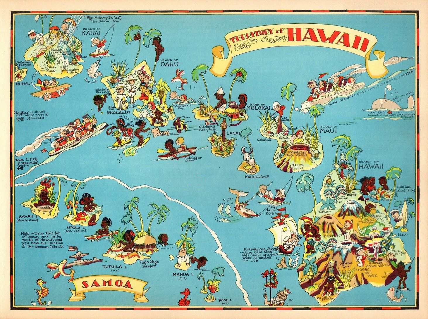 1930's Vintage Hawaii Picture Map State Cartoon Map Print ... on map of costa rica, map of hawaii, map of spain, map of malaysia, map of south pacific, map of bali, map of austrailia, map of fiji, map of brazil, map of bahamas, map of bora bora, map of kwajalein, map of moorea, map of carribean, map of switzerland, map of new zealand, map of thailand, map of french polynesia, map of pacific ocean, map of seychelles,