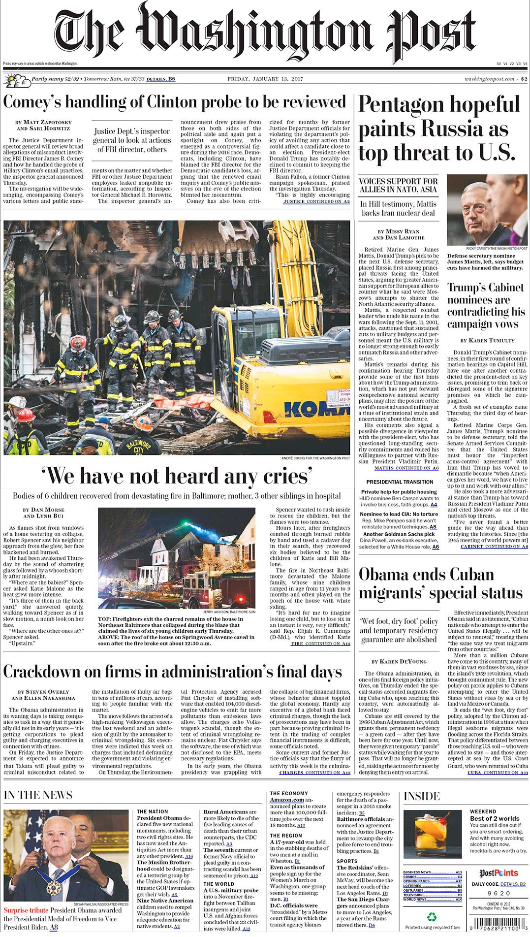 Washington Post 13012017 front page headline stories