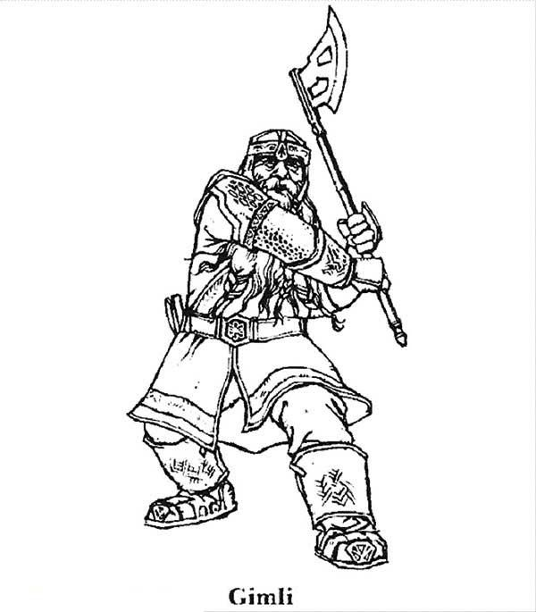 Gimli Son Of Gloin In The Lord Of The Rings Coloring Page With