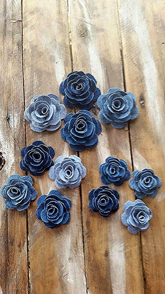 Denim Blume Denim Rose Sackleinen und Denim Blume Country Wedding Flower Tortend…